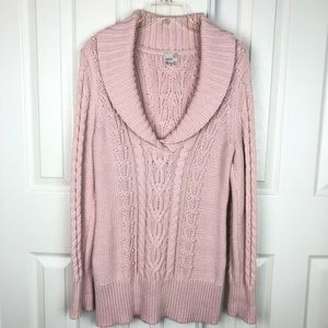Caslon Cable Knit Shawl Collar Pullover Sweater